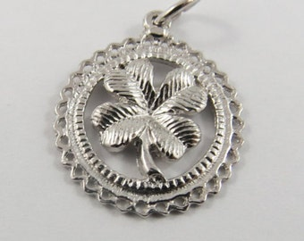A Lucky Four Leaf Clover  Sterling Silver Charm or Pendant.