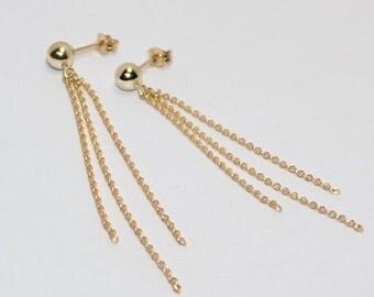 Drop Earrings, Gold dangle earrings, Bridal ear thread, Chain earrings, Wedding post stud earrings