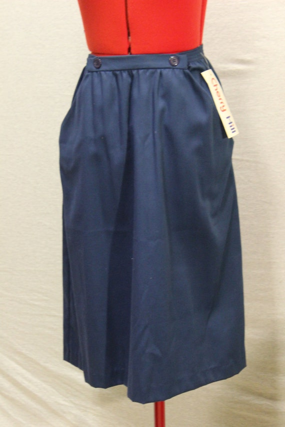 vintage navy blue pencil skirt with elastic waistband and