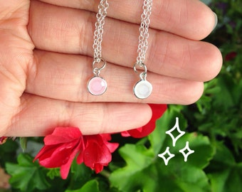 Handmade Silver Minimalistic Necklace with a Subtle, Adorable Facet Charm
