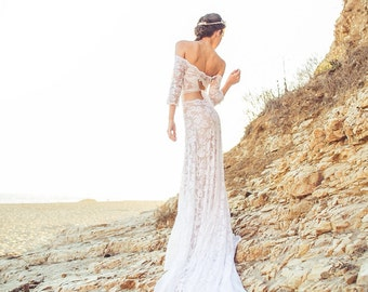 Long Sleeve Wedding Dress with Off-the-Shoulder Crop Top, Keyhole Tie Back, and Cascading Chiffon Train - Lennox Dress