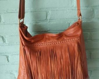 Medium leather fringe shoulder bag, tan leather boho bag