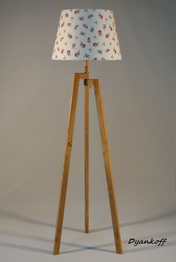 Handmade tripod floor lamp with unique wooden stand in natural - Unique handmade lamps ...