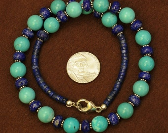Rare 10 mm natural turquoise round beads necklace