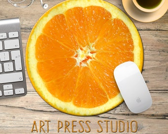 Orange Slice Mousepad, Tropical Fruit Mouse Pad, Citrus, Fruit Mousepad, Vegan Mouse Pad, Citrus, Funny Gift, Food Mousepad, Foodie