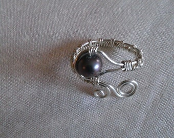 sterling silver ring , wire wrapped sterling silver ring , fresh water pearl ring , handmade jewelry, handmade ring