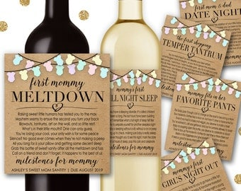 Baby Shower New Mom Gift Milestones for Mommy Wine Champagne Labels Mommy Meltdown Date Night Girl's Night Temper Tantrum Favorite Pants BM1