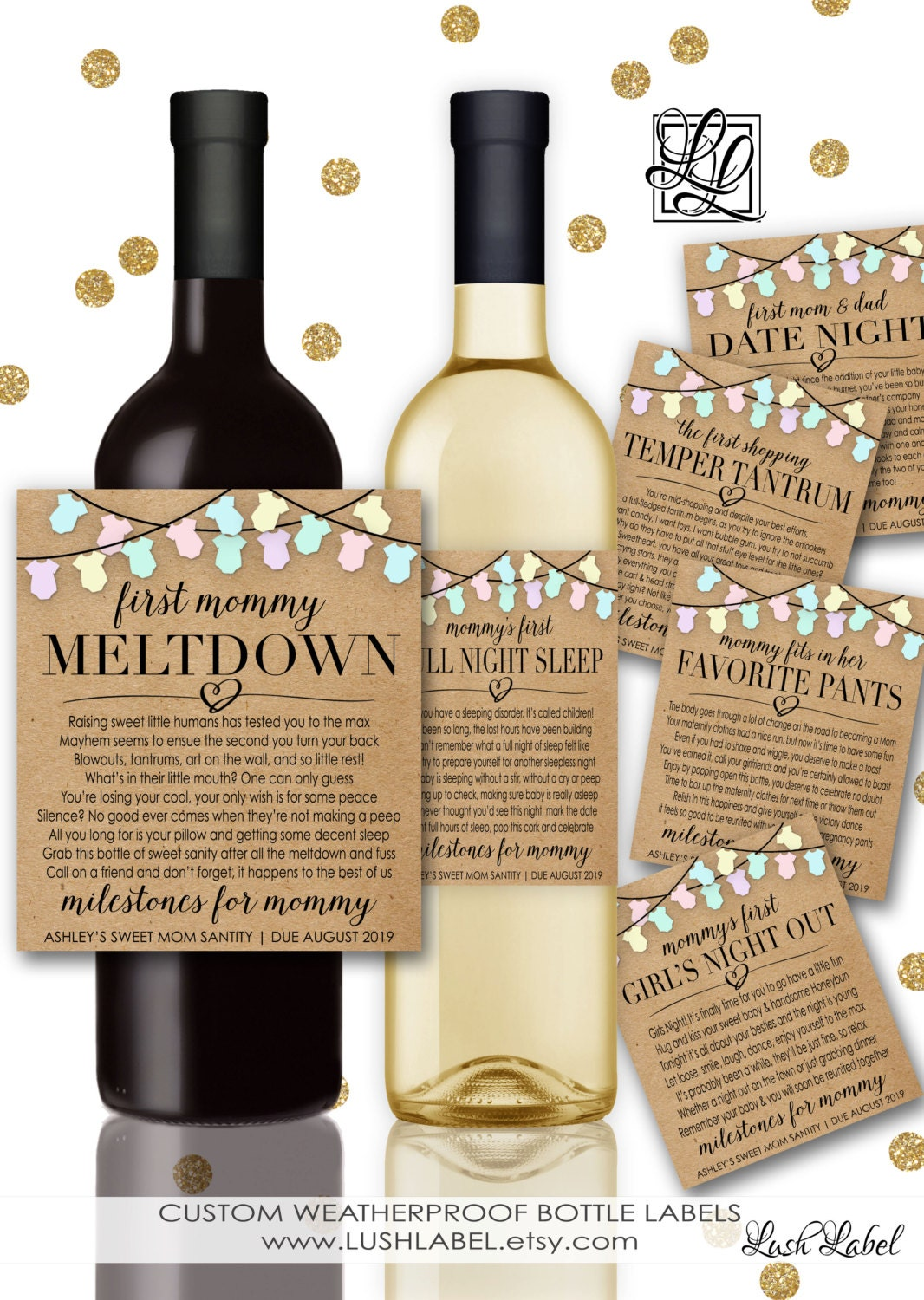 baby shower new mom gift milestones for mommy wine champagne