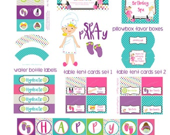 Spa Party Printables Package, Spa Birthday,  Personalized Printable Decorations