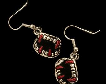 Halloween Jewelry - Vampire Fangs with Dripping Blood - Vampire Fang Earrings - AspenTreeJewelry