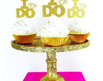 I Do cupcake Toppers. Bridal Shower. Engagement Party. Wedding. Bachelorette Party. Bride.