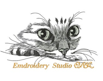 Machine embroidery design Watching cat - for white and pastel shades materials - embroidery cat - cat - embroidery for pillows