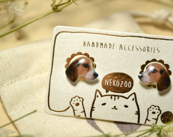Beagle Dog cute Jewelry Earrings , tiny jewelry, handmade items, Unique Gift with linen cotton bag