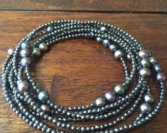 Scattered Freshwater Pearl Hematite Wrap