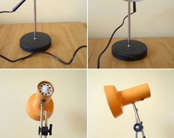 25%OFF Vintage Orange Desk Lamp, Articulated Table Lamp, Mid Century Modern Desk Lamp, Adjustable Tilt Table Top Electric Lamp, Retro Orange