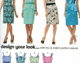 FREE US SHIP New Look 6146 5 Easy Empire Cocktail Dress Size 6-16 Bust 30 31 32 34 36 38 Sewing Pattern Factory Folded Unused