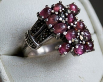 One of a Kind Ruby Silver Marcasite Ring