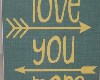 Love you more Card Dark Aqua Yellow Arrows