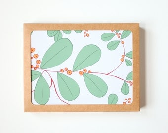 Botanical All Occasion Card Set, Set of 10,  Floral Card, Blank Card, Handmade card, Hand drawn botanical card, Leaf and berry pattern