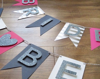 BRIDE TO BE Banner (Pink, Navy, Silver) Bachelorette party decoration, gift for bride, Bridal Shower, Photo Prop, Party, Wedding