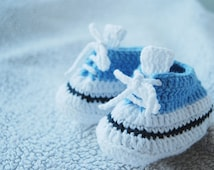 """Very cure waldorf doll sports shoes, Hand crochet shoes for waldorf doll, 9cm/3,5"""" blue-white doll shoes"""