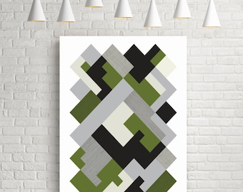 Geometric art print, wall art, abstract art, geometric art, isometric art, blue print, gift for her, modern wall art, green, black, grey