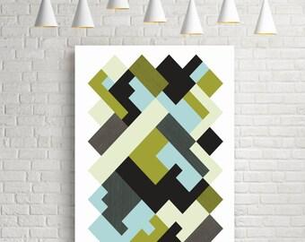 Geometric art print, wall art, abstract art, geometric art, isometric art, blue print, gift for her, modern wall art, green, black, grey