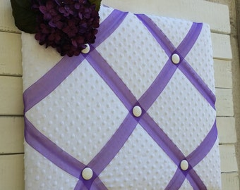 White Chenille Bulletin Board...Purple Organza & Coordinating Purple Hydrangea
