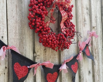 Black Burlap Banner...Red Painted/Glittered Hearts