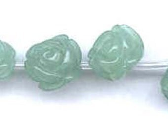 Aventurine Flower Bead, Carved Rose, Gemstone, 10mm