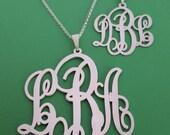 Monogram Necklace / Any size monogram necklace / Monogram & Name Necklaces / initial necklace / monogram necklace / silver monogram