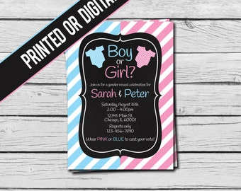 Printed or Digital File - Gender Reveal Invitation - Boy or Girl?