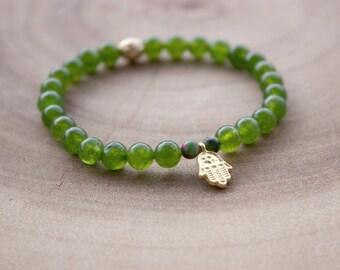 Hamsa Hand Bracelet / Boho Bracelet / Green Jade Bracelet