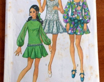 Vintage Simplicity 8806 1970 Young Junior/Teens' Mini Dress Size 13/14 Sewing Pattern- Retro, Dressy, Boho, Skater, Tunic, Sew
