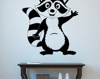 Raccoon Wall Decal Raccoon Vinyl Sticker Animals Stickers Home Art Decor (2rcn)