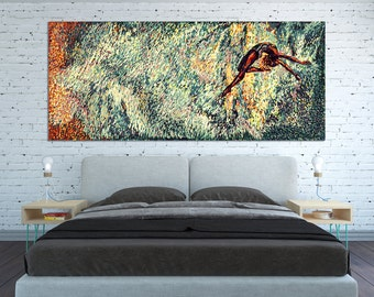 CANVAS PRINT Horizontal Big Huge Extra Large Wall Art Painting Horizontal Oversized Large teal sky flying woman Horizontal Abstract wall art
