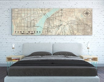 FORT MYERS FL Canvas Print Florida Fl Fort Myers Vintage map Fort Myers City Horizontal Large Wall Art Vintage map Panoramic poster gift map