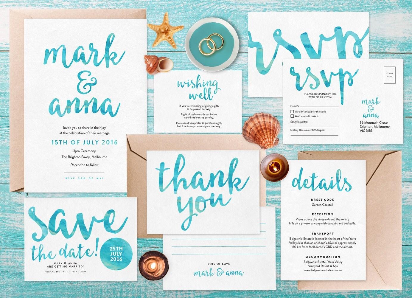 Wedding invitation set, Beach wedding invitation, Printable wedding stationery, Wedding invitation printable, Watercolour wedding invitation