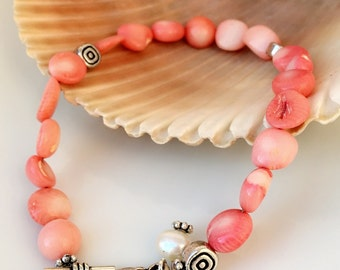 Pink Shell and Pearl Charm Bracelet