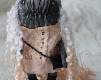 Chloe monster art rag doll extrime primitive  creepy grey peach