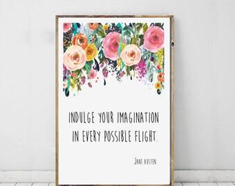 Jane Austen Imagination Quote Typography Art, Jane Austen Print, Love Print, Inspirational Typography, Instant Download, Printable Art
