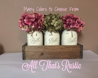 Spring Mason Jar Centerpiece, Mother's Day Gift, Painted Mason Jars, Spring Decor, Rustic Home Decor, Mason Jar Decor, Centerpiece, Wedding