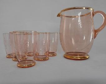 Retro Vintage Pink Water Set Etched Glass Lemonade Jug / Pitcher Six Glasses 1950's