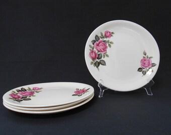 Vintage Bristol China Pink Rose Tea Plates Set of Four  #00047