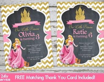 Disney Princess Invitation Princess Aurora Invitation Princess Sparkly Glitter Invitation PRINTABLE