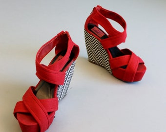 SALE Vintage Style Red Shoes with Chevron Wedge Heel