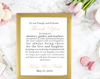 Thank You Family and Friends Personalized 8x10 Sign DIY Printable Sign