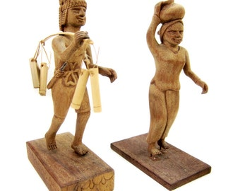 Set of Hand-Carved Mahogany Figures