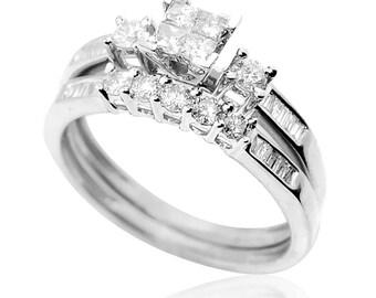 10K White Gold Wedding Ring Set Bridal Rings 2pc Set 0.60cttw Diamond