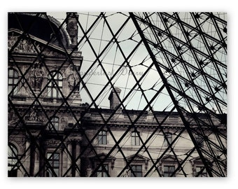 Paris, Architectural Photography, Black and White Photography, Paris Print, Louvre, Abstract Wall Art, Architectural print, Bedroom Decor